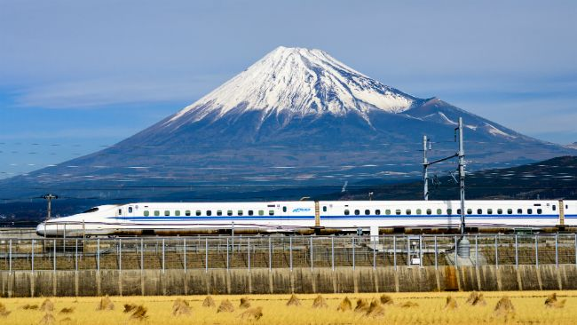 Shinkansen with Mt Fuji in the background