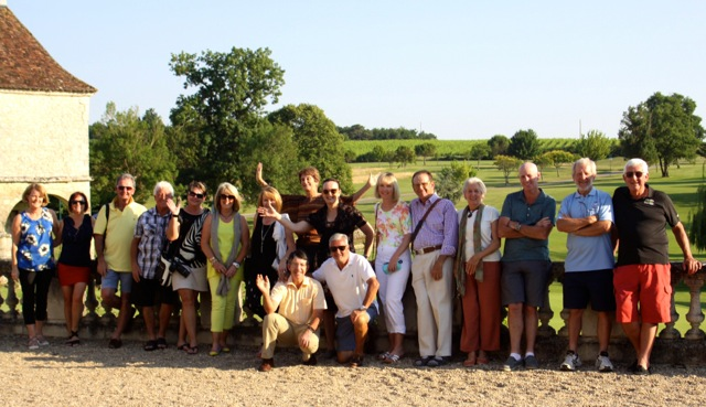 Group photo at Chateau des Vigiers, France