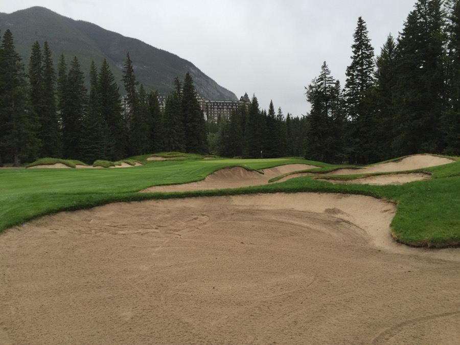 The long par 4 fourteenth hole at Banff Springs GC