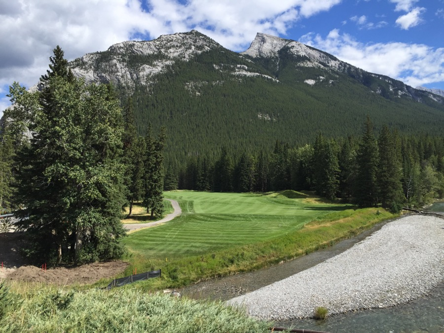 The magnificent par 4 fifteenth hole at Banff Springs GC