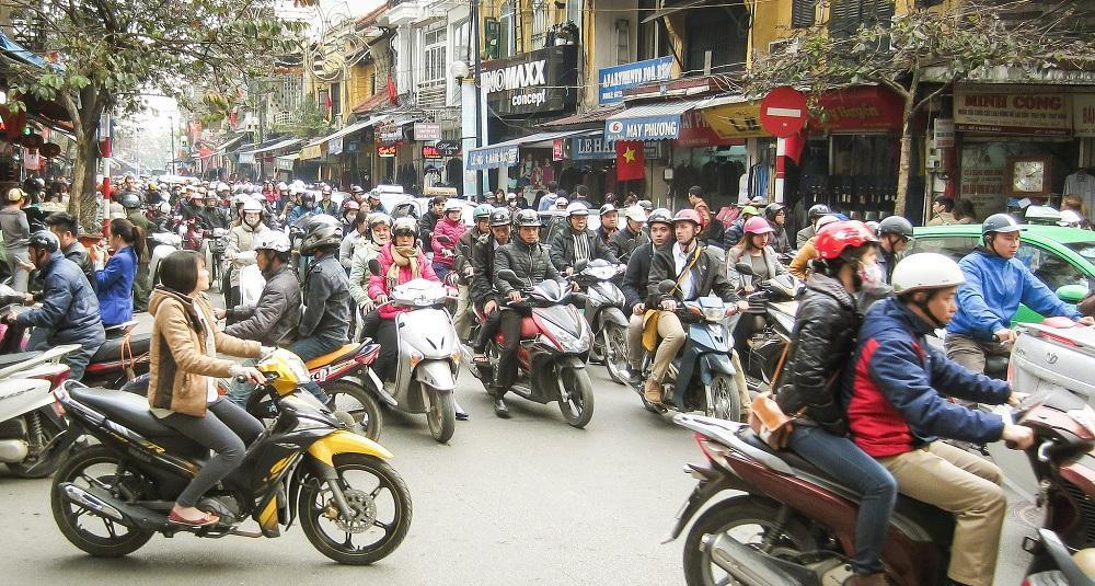 Crossing the road in Hanoi is a challenge!
