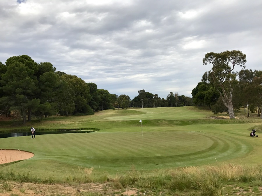 Looking back down the seventeenth hole at Kooyonga GC