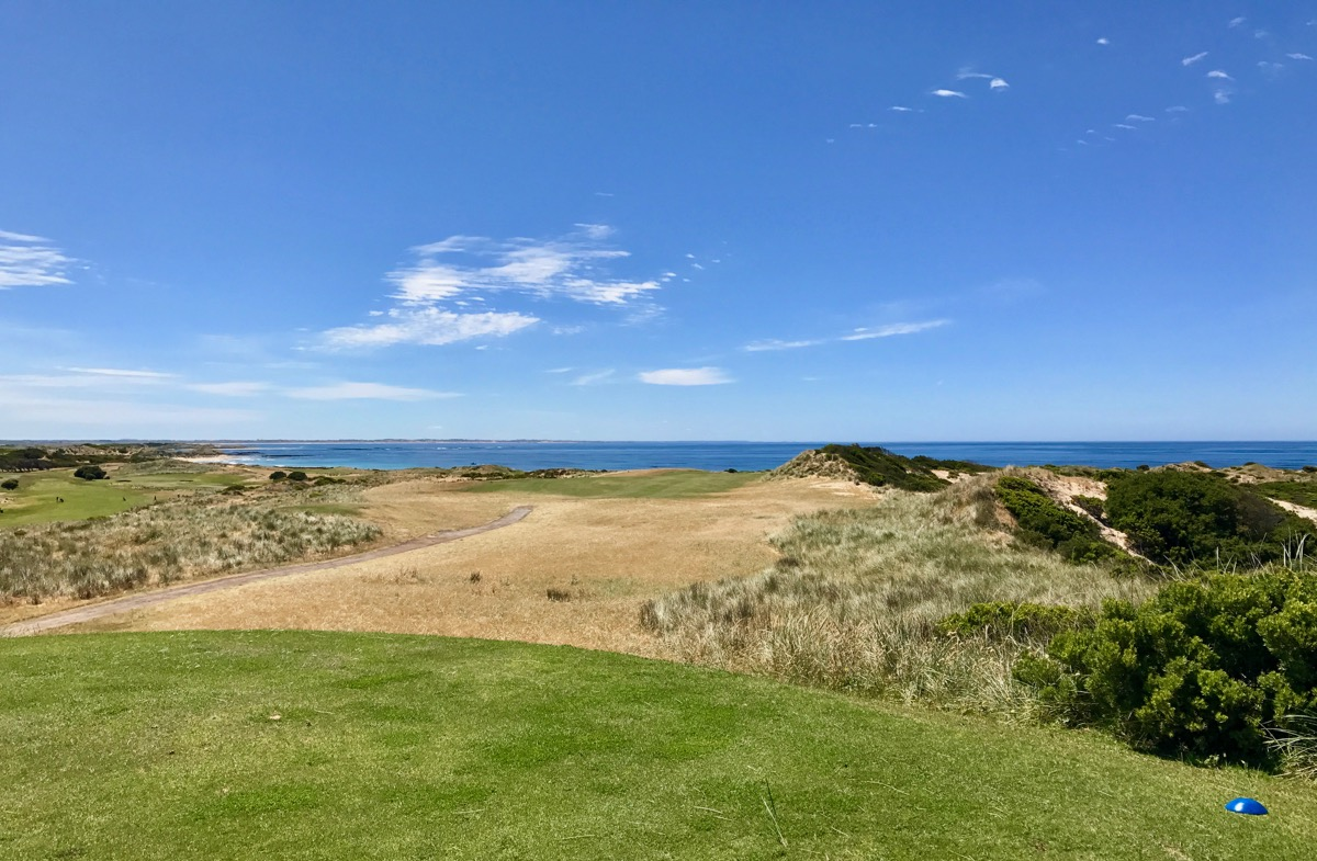 The long par 4 fourteenth hole at Port Fairy GC is the hardest hole on the course