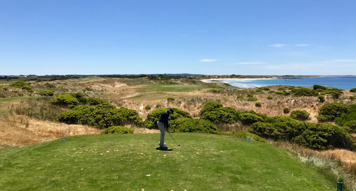 The par 3 fifteenth hole at Port Fairy Golf Club