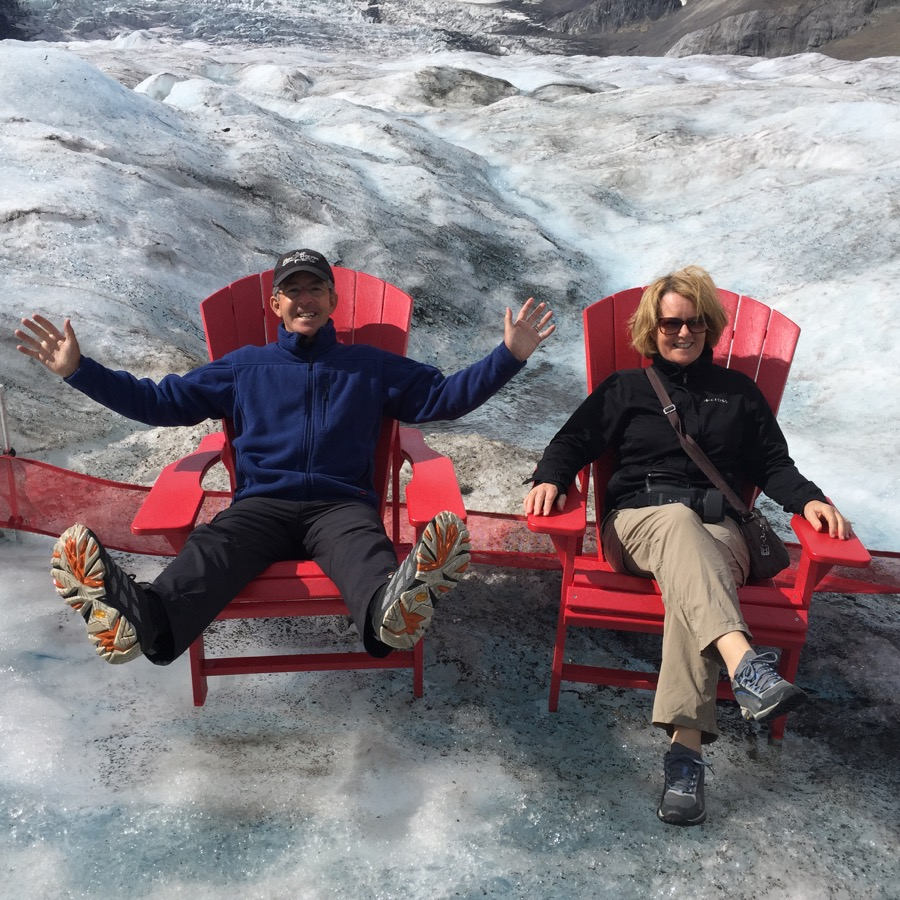 Directors Heather & Peter Wood on The Athabasca Glacier