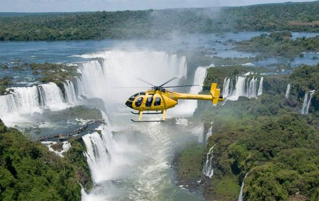 Helicopter over Iguazu Falls