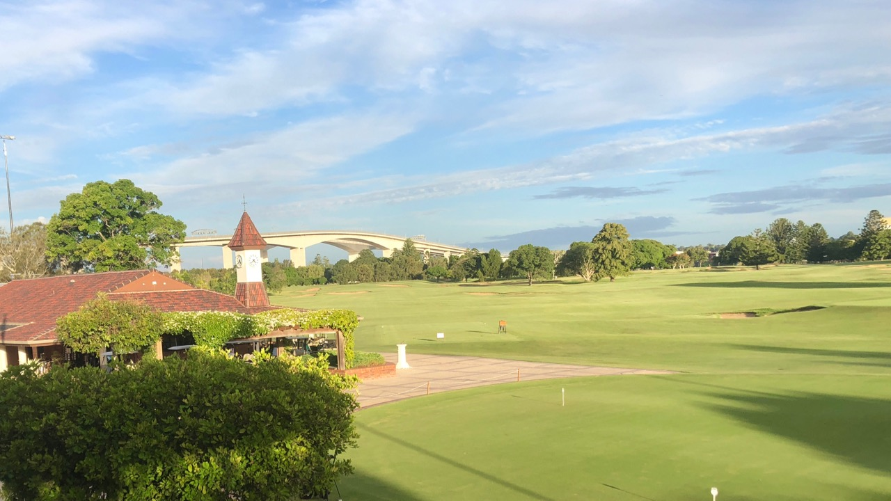 Royal Queensland GC-  pro shop, 1st hole & bridge