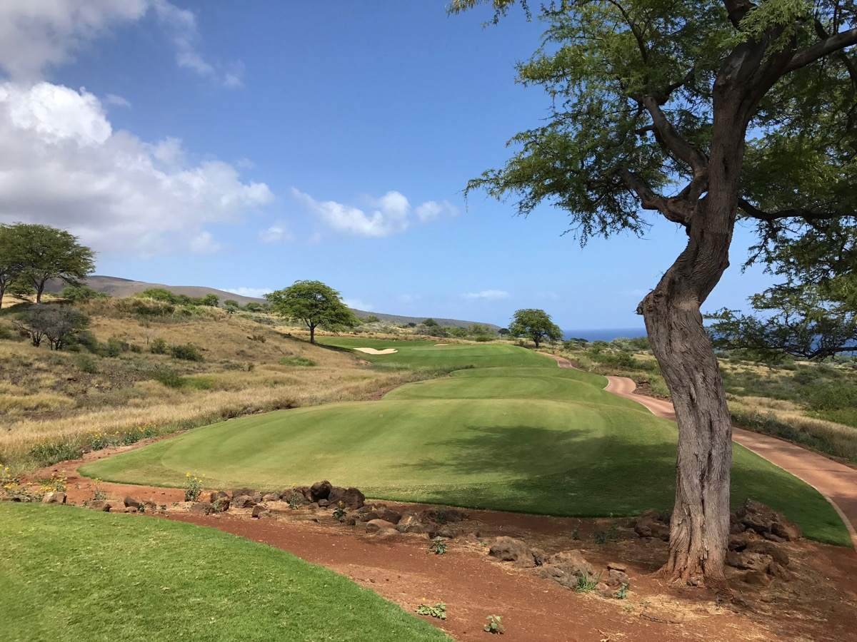 Lanai'i Golf Course, Manele- the par 3 fourteenth hole from the tee