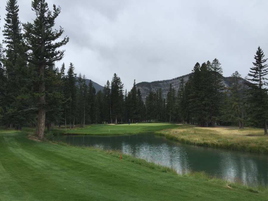 The par 3 eighth hole at Banff Springs GC