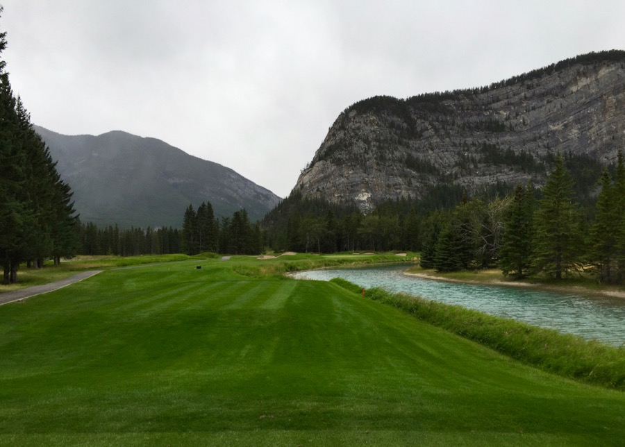 The par 3 Tenth hole at Banff Springs GC