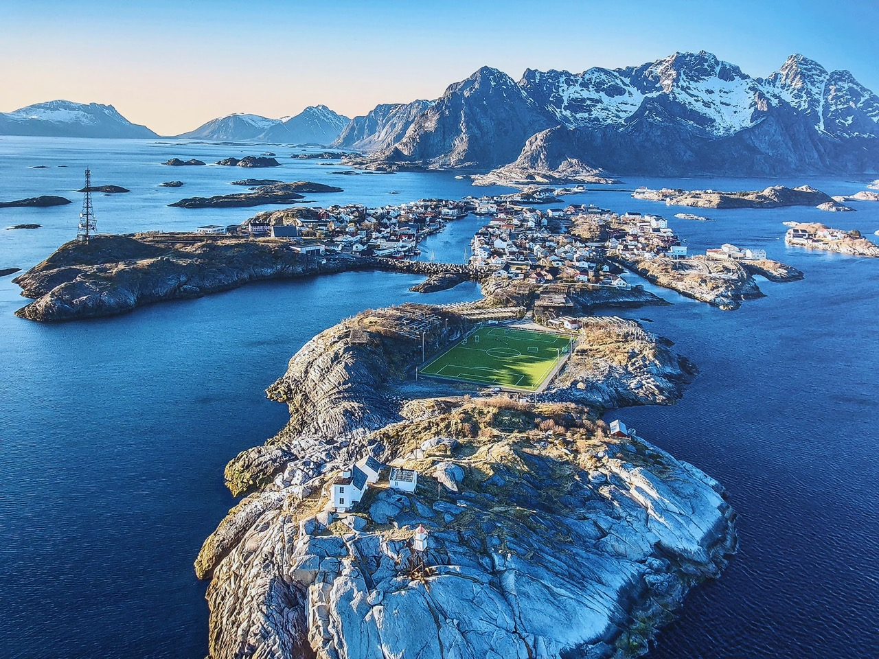 Henningsvaer town and soccer field