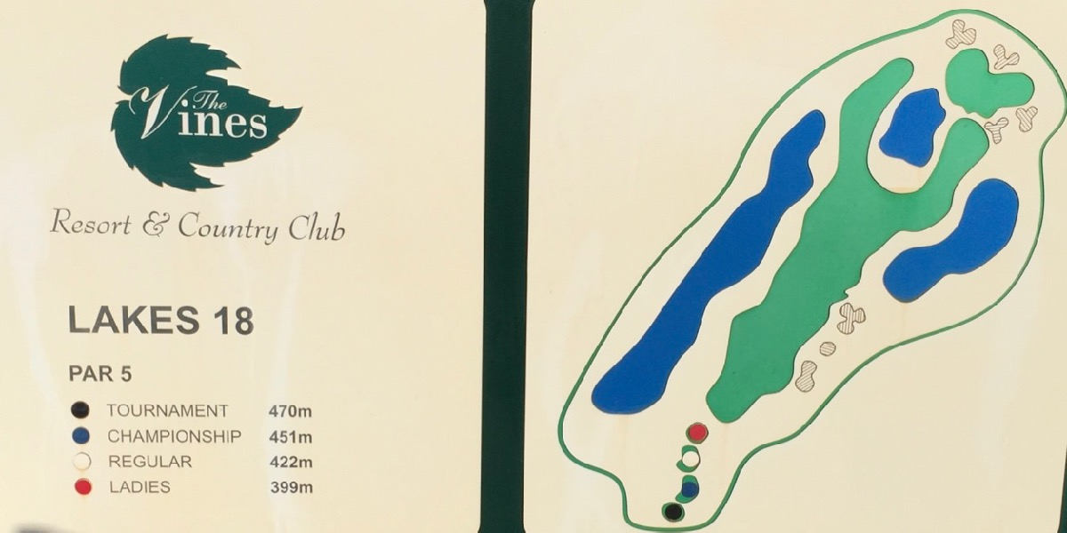 The Vines Resort Lakes hole 18 sign