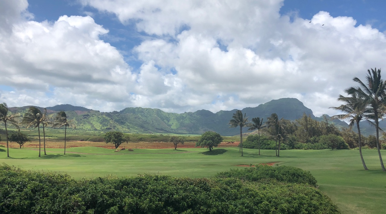 Poipu Bay GC- framed by mountain and sea