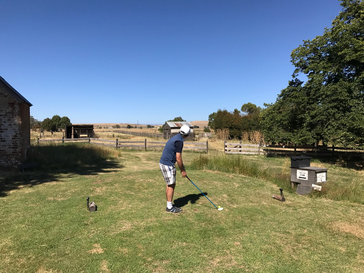 Ratho Farm Golf Links- hole 1- the opening tee shot over the stockyards