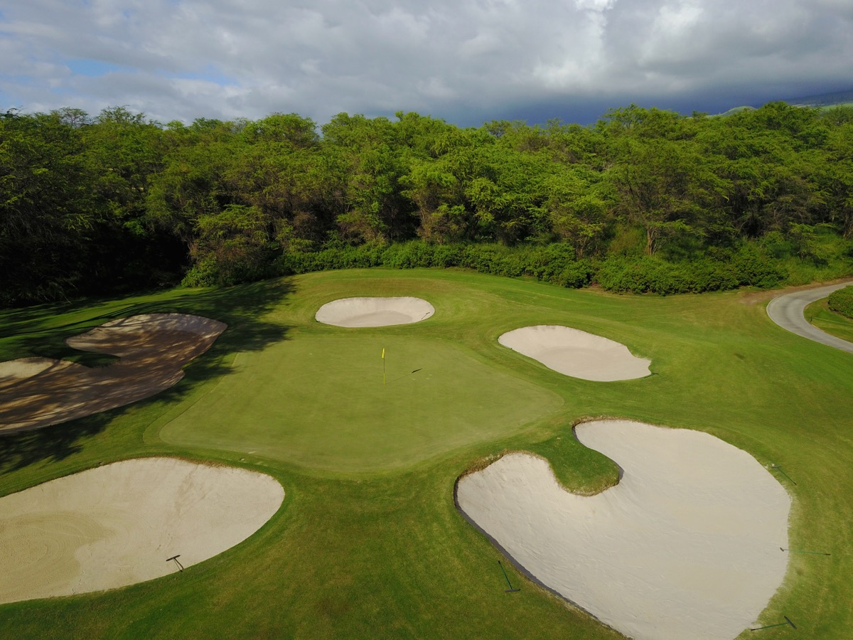 Wailea Golf Club Gold Course- an aerial view of the eleventh green