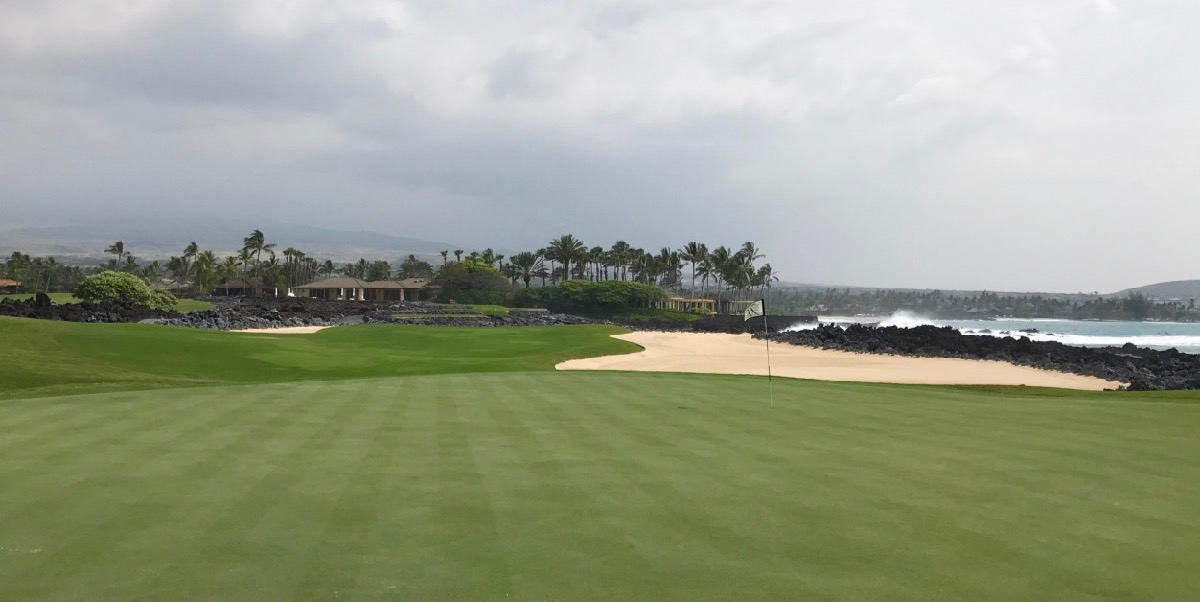 Hualalai GC- the 17th green from behind