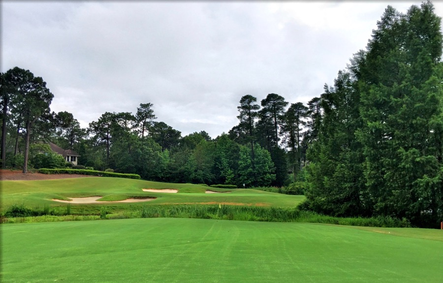 Pinehurst no 7- the approach over the burn to hole 8
