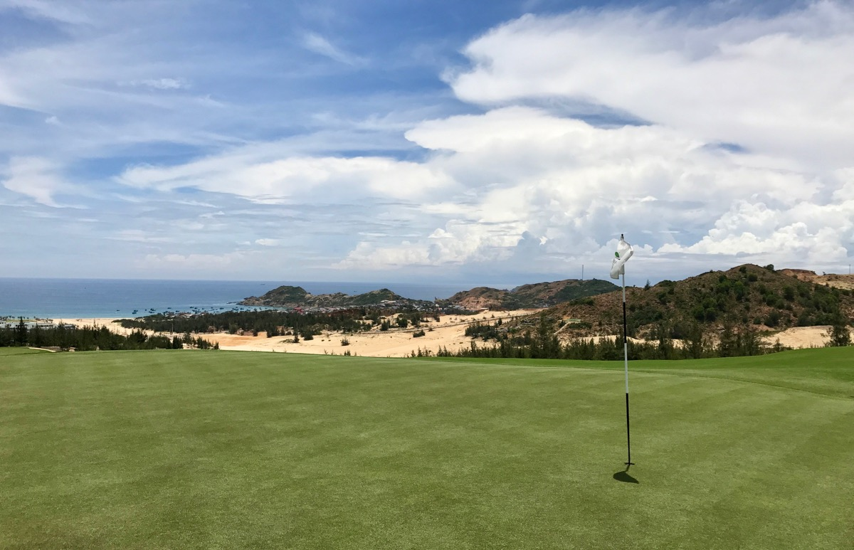 FLC Quy Nhon- Mountain Course- hole 13- looking back from the green
