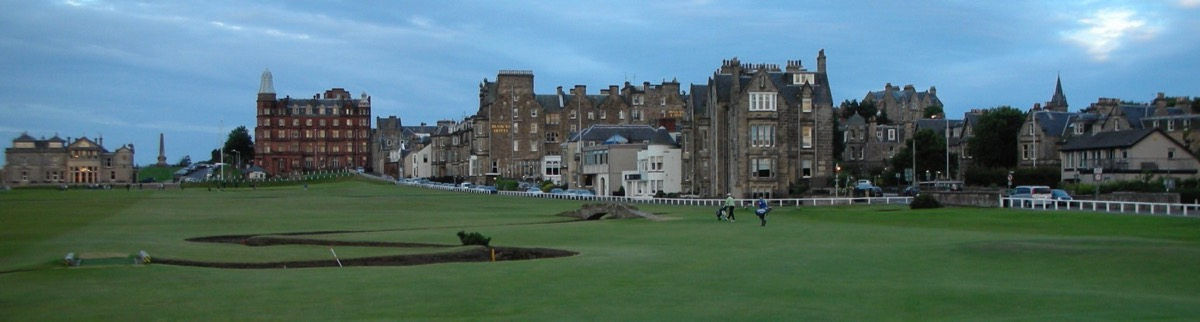The Old Course at St Andrews 18th hole with town background